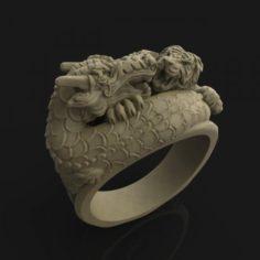 Tiger VS Dragon Ring 3D Model