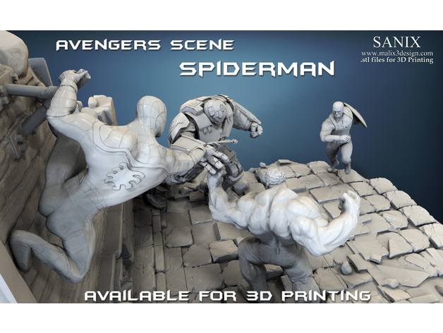 Avengers scene - SPIDERMAN / 3D Printable Model - 3DHunt co