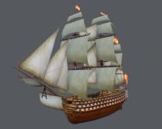 Spanish warship Santisima Trinidad 3D Model