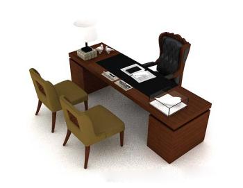 Wooden office desk 3d model for Schreibtisch 3d modell