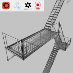 Evacuation ladder 3D model 3D Model