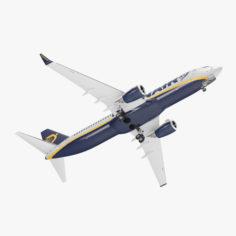 Boeing 737-800 Ryanair Rigged 3D Model