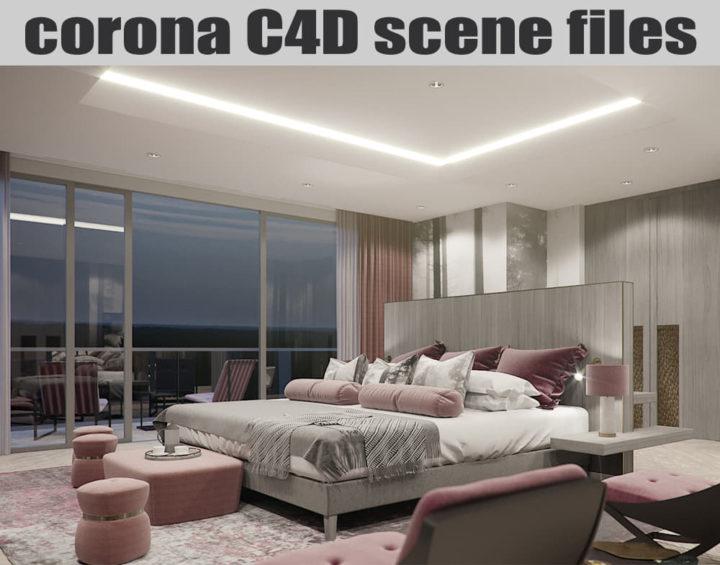 Corona C4D Scene Files - Master Bedroom 3D Model - 3DHunt co