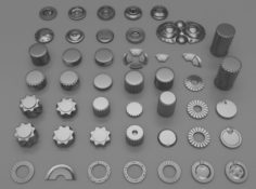 45 gears and machine parts 3D Model