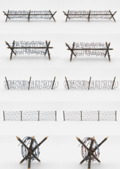 Lowpoly Barb Wire Obstacle Collection 3D Model