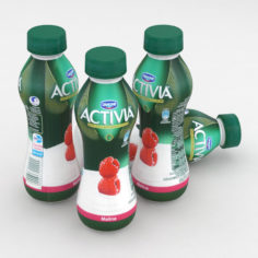 Dairy Bottle Danone Activia Raspberry 300g 3D Model