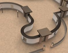 Modular gates walls and fences set 3D Model