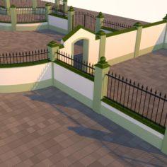 Modular fences, gates and walls 3D Model