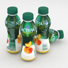 3D Dairy Bottle Danone Activia Peach Mango 300g 3D Model