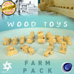 3D model Wood Toys Farm Pack 3D Model