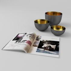 3D Bowls + Magazine 3D Model