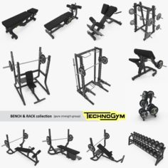 Bench, Rack & Barbell collection Technogym, full set 12 gym items, (pure strength group) 3D Model