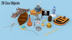 Low Poly Sea Objects Pack 3D Model