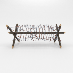 Lowpoly Barb Wire Obstacle 1 3D Model