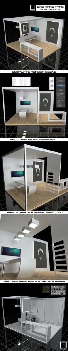 Exhibition Booth Vray Scene            3D Model