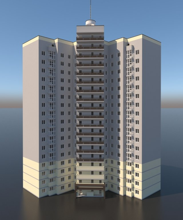 Residential high-rise building Free 3D Model - 3DHunt co