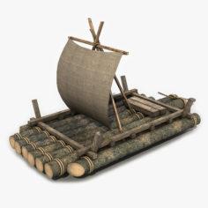 Old Wooden Raft 4 3D 3D Model