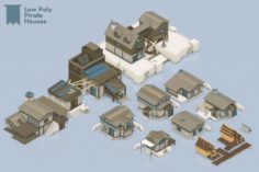 Low Poly Pirate Houses 3D Model