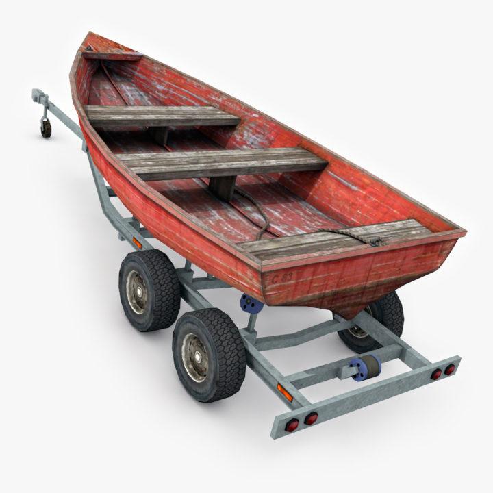 Boat trailer with boat model 3D Model