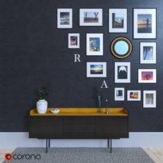 Sideboard with frames by Mario Ruiz 3D Model