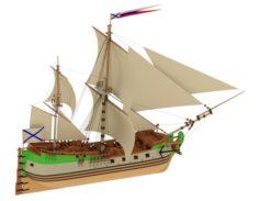 Sailing ship Kronslot 3D Model