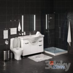 Set of bathroom equipment and accessories for bathrooms                                      3D Model