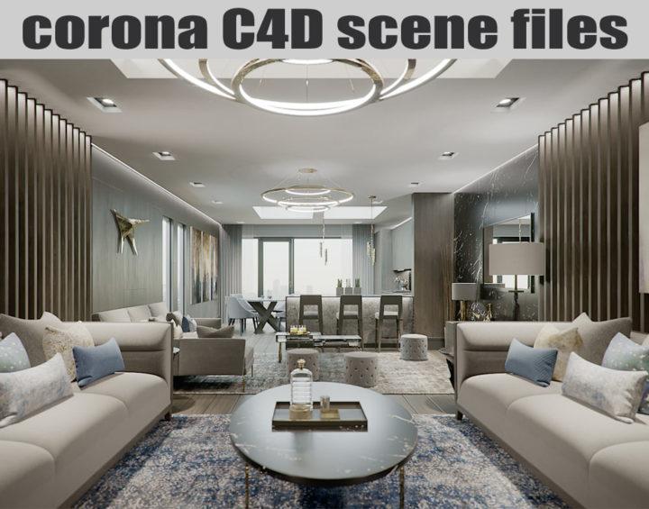 Corona Cinema 4D Scene files - London Luxury Interior 3D Model
