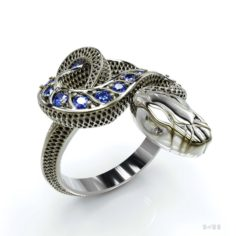 Snake ring with stones 3D Model