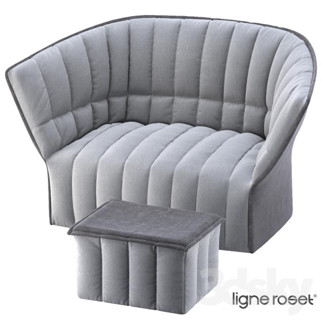 ligne roset moel sofa pouf 3d model. Black Bedroom Furniture Sets. Home Design Ideas