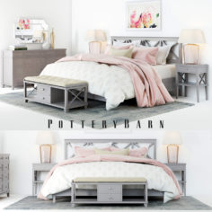 Pottery Barn Clara Lattice Bedroom set 3D Model