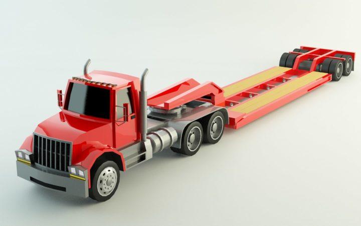 Low Poly Lowboy Trailer & Truck 3D Model