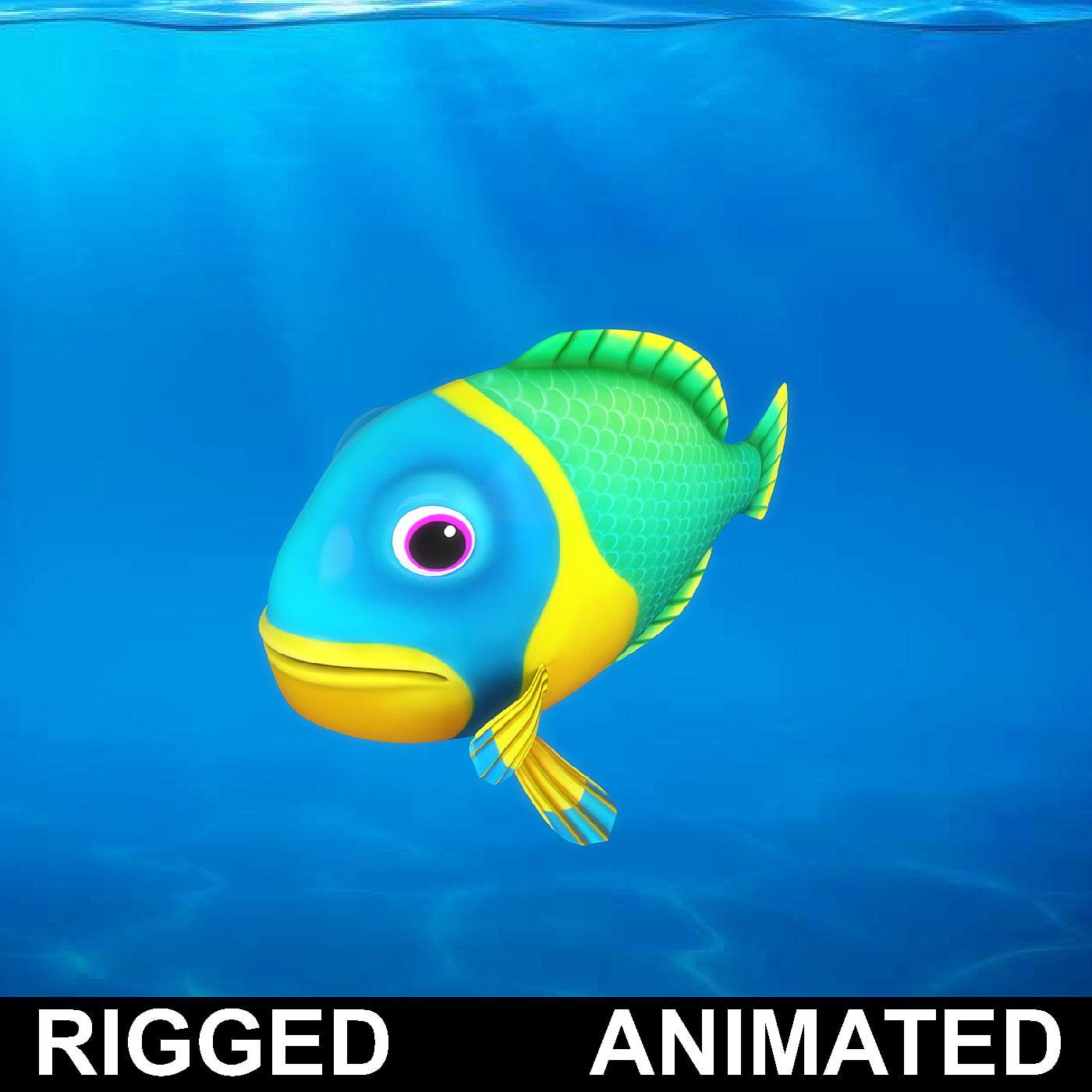 cartoon underwater scene rigged animated 3d model - HD1400×1400