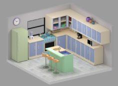 Low Poly Kitchen 3D Model