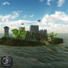 3D model Coastal fortress advanced (HD) 3D Model