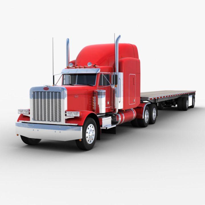 3D model Flatbed Semi-trailer Truck 3D Model