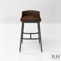 3D RH_Iron Scaffold Leather Stool model 3D Model