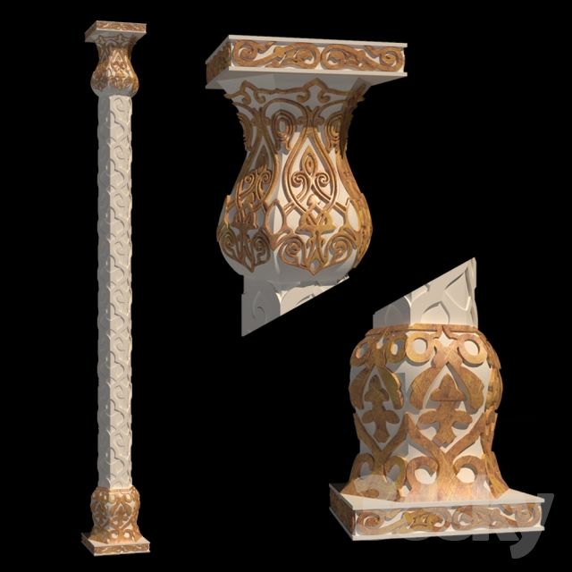 The column in Arabic style Free 3D Model - 3DHunt co