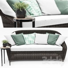 TORREY ALL-WEATHER WICKER ROLL-ARM SOFA from Pottery barn                                      3D Model