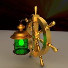 Ship steering wheel lamp 3D model 3D Model