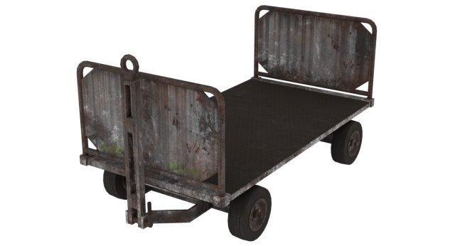 Baggage Cart 1 Rusty Lowpoly 3D Model