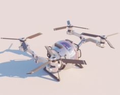 Cargo QuadCopter sci fi 3d model vray 3D Model