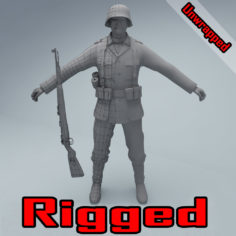 Wehrmacht soldier WW2 RIGGED 3D Model