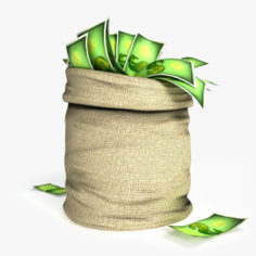 Cartoon Money Bag 3D Model