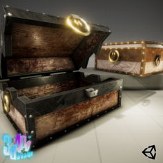 Iron Strong Chest and Crane Leather Chest 3D Model