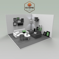 Low Poly Interiors – Living Room 3D Model