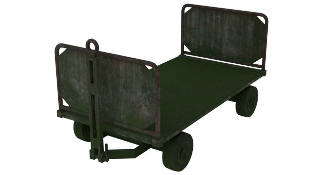 Baggage Cart 1 Moss Lowpoly 3D Model