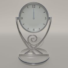 Chrome Table & Bedside Clock 3D Model