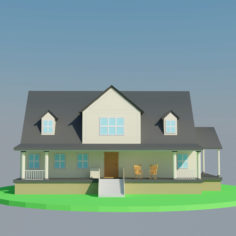Low Poly Big House 3D Model