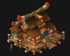 Cartoon city – ordinary houses 3D Model