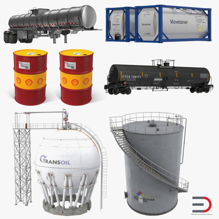 Oil Storage Tanks Collection 2 3D Model